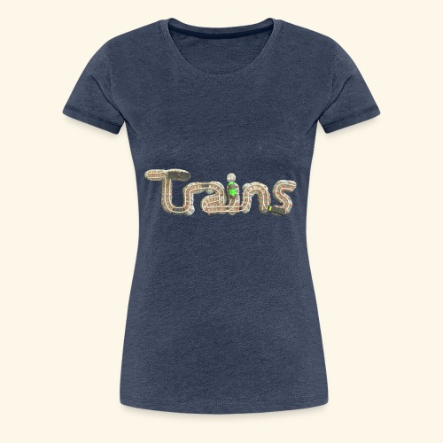 Colourful eagle eye's view of model trains - Women's Premium T-Shirt