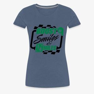 Boost Smiles & Quarter Miles Green & Black Print - Women's Premium T-Shirt