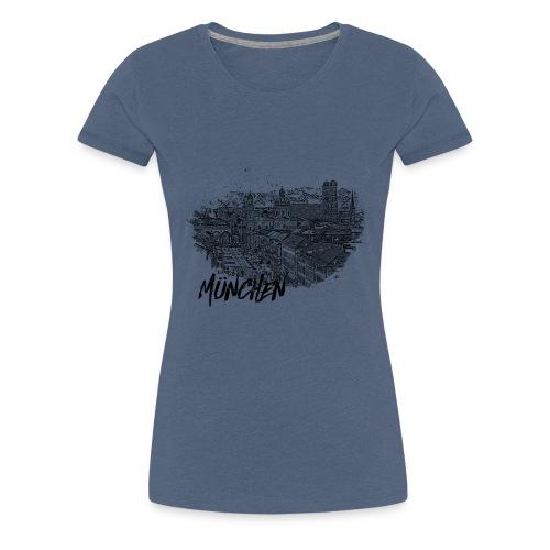 München / Munich Stadtansicht Skizze mit Alpen - Frauen Premium T-Shirt