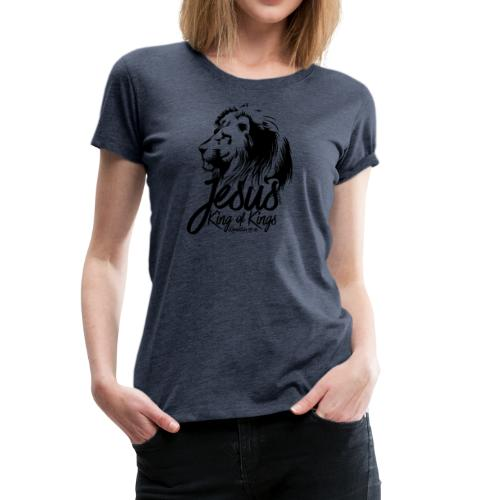 LION - JESUS KING OF KINGS // Black - Women's Premium T-Shirt