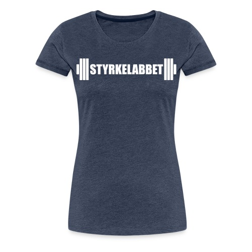 Styrkelabbet vit logotyp - Premium-T-shirt dam