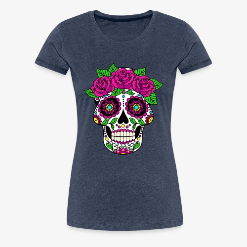 Calavera con Rosas - Camiseta premium mujer