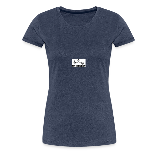 heartbeat pulse line two crossed floorball sticks - Frauen Premium T-Shirt