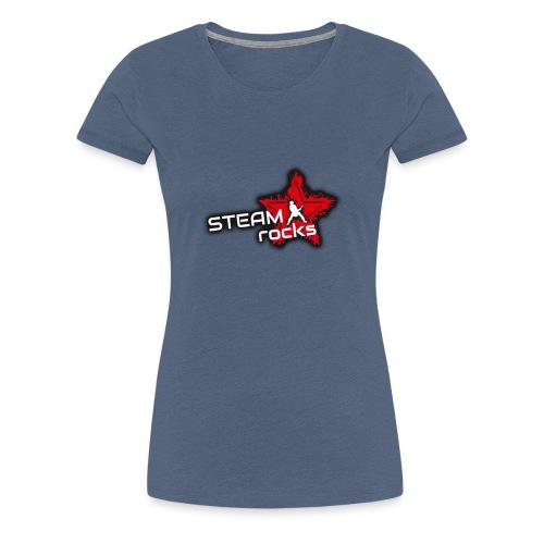 SteamRocks RGB WeisseSchrift aufTranzparenz 1000px - Frauen Premium T-Shirt