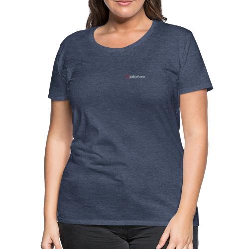 Logo - hvit - kun tekst - bryst - liten - Premium T-skjorte for kvinner