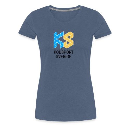 Kodsport kvadratisk logotyp - svart text - Premium-T-shirt dam