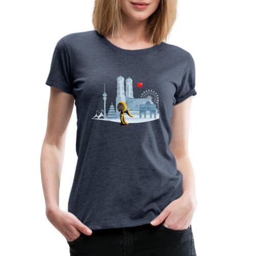 Skyline München mit Münchner Kindl und Herz - Frauen Premium T-Shirt