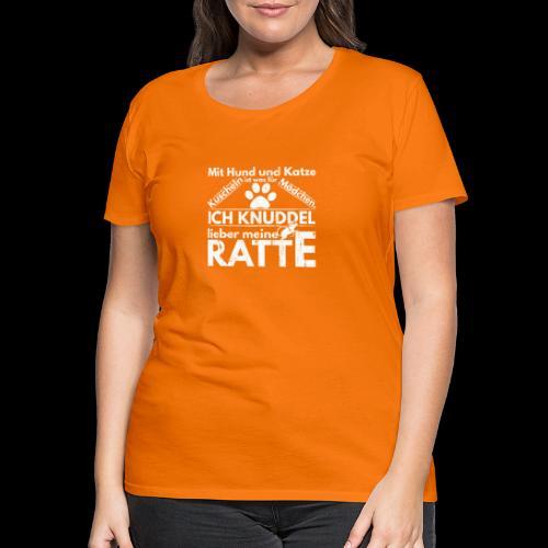Mit Hund und Katze Kuscheln ist was for Madchen - Frauen Premium T-Shirt