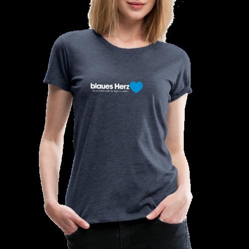 blaues Herz - Frauen Premium T-Shirt