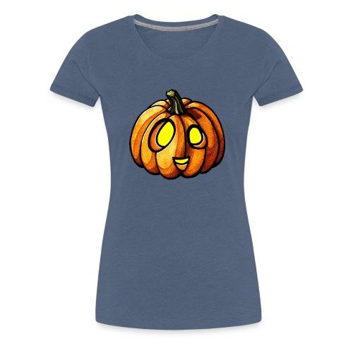 Pumpkin Halloween watercolor scribblesirii - Dame premium T-shirt