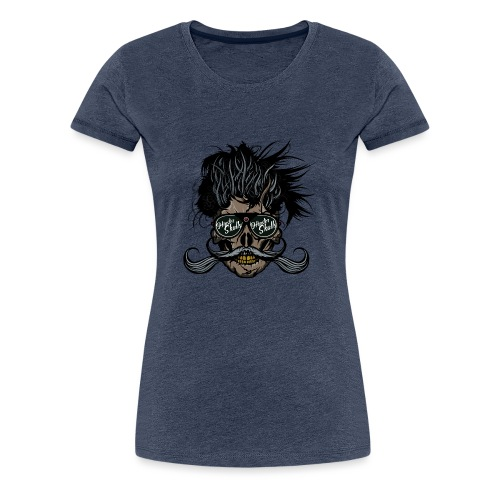 hipster skull tete de mort crane barbu moustache - T-shirt Premium Femme
