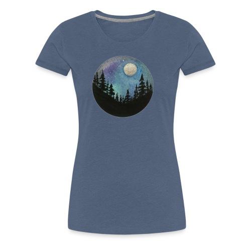 Diseño Bosque nocturno con colores y luna llena - Camiseta premium mujer