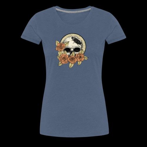 Rose et tête de mort - T-shirt Premium Femme