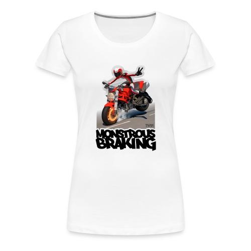 Ducati Monster, a motorcycle stoppie. - Camiseta premium mujer