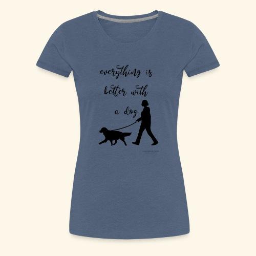 Dog walking - Frauen Premium T-Shirt