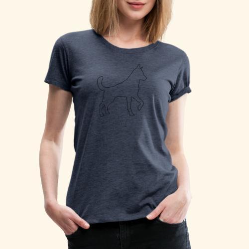 Konturgrafik Schäferhund - Frauen Premium T-Shirt