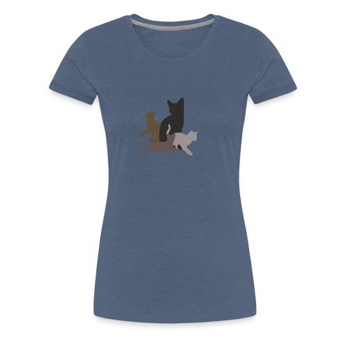 vier Katzen dunkel - Frauen Premium T-Shirt