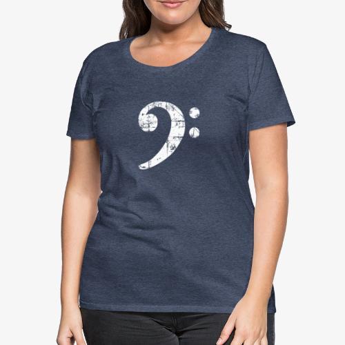 Bassschlüssel Vintage Bassisten Design (Weiß) - Frauen Premium T-Shirt