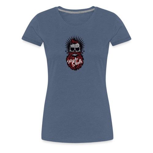 tete de mort hipster skull moustache barbe logo ba - T-shirt Premium Femme