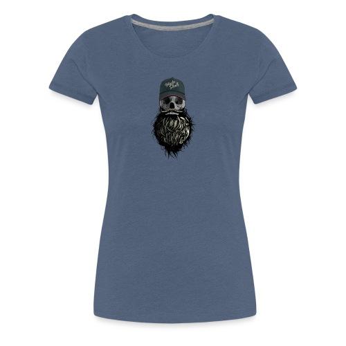 tete de mort hipster casquette logo skull barbu cr - T-shirt Premium Femme