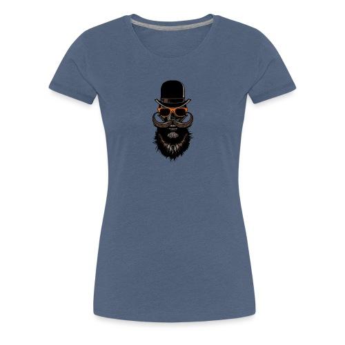 tete de mort crane hipster skull chapeau melon lun - T-shirt Premium Femme