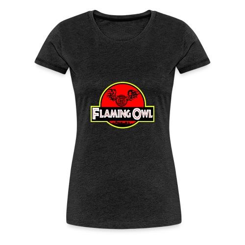 Flaming Jurassic Owl - Premium-T-shirt dam