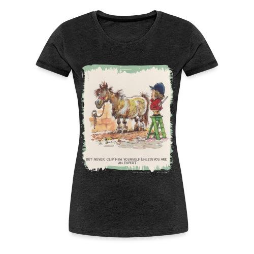 Thelwell Cartoon Pony beim Friseur - Frauen Premium T-Shirt