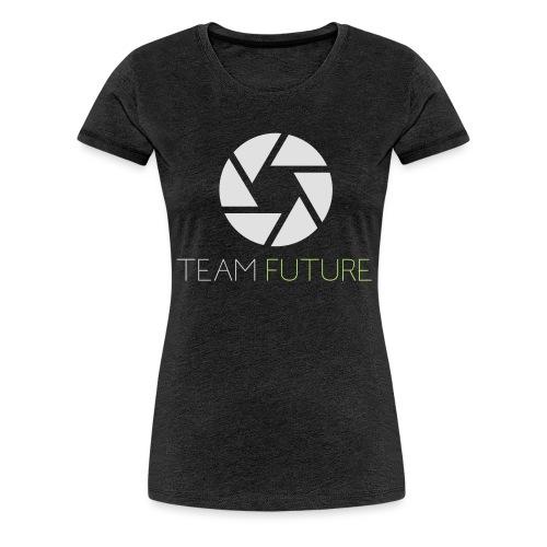 T-Shirt Shutter with Logo Text white and green - Premium-T-shirt dam