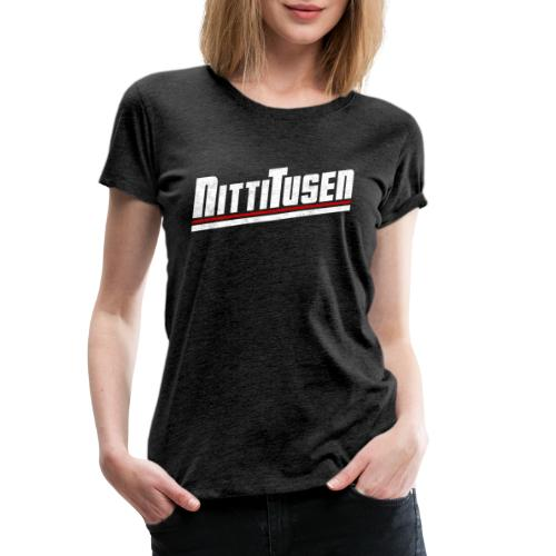 Nittitusen print vit - Premium-T-shirt dam