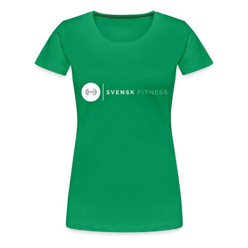 Linne med vit vertikal logo - Premium-T-shirt dam