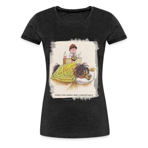 Thelwell Cartoon Pony liegt unter der Bettdecke - Frauen Premium T-Shirt