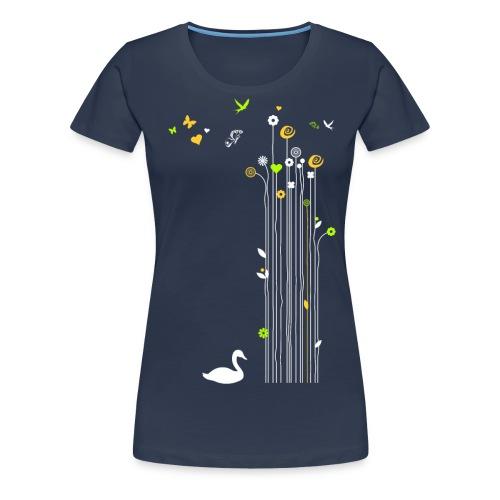 Frühling Schwan Blüten Schmetterlinge Valentinstag - Women's Premium T-Shirt