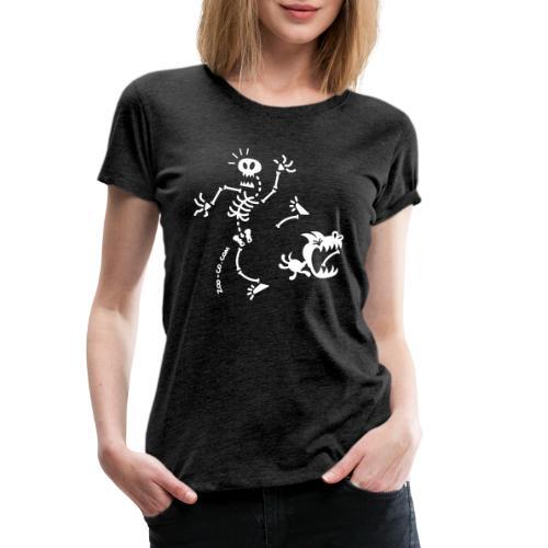 Dog Stealing Skeleton's Bone - Women's Premium T-Shirt