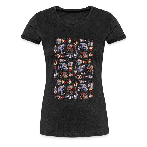 Thelwell Cartoon buntes Pony Muster - Frauen Premium T-Shirt