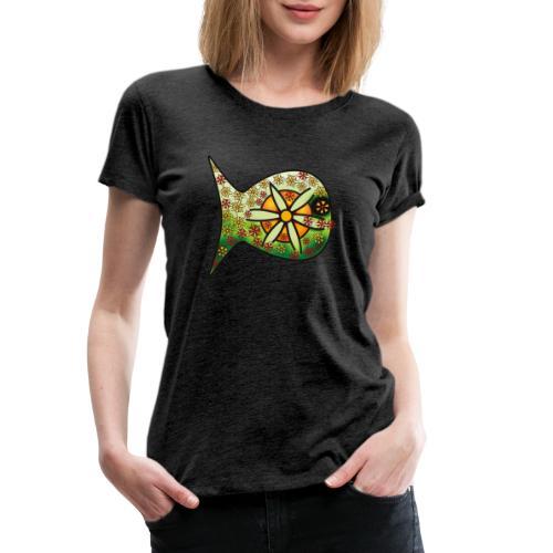 Blüten Fischdesign - Frauen Premium T-Shirt