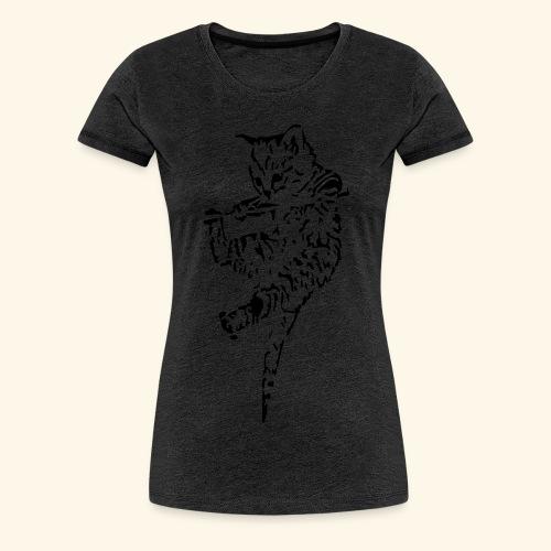 Katze hängt - Frauen Premium T-Shirt