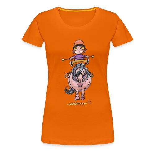Thelwell Reiterin Balanciert Auf Süßem Pony - Frauen Premium T-Shirt