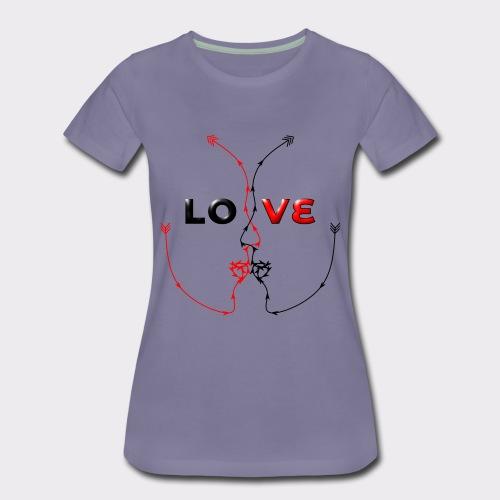 LOVE MINIMALISTIC LineART Valentinstaggeschenke - Frauen Premium T-Shirt
