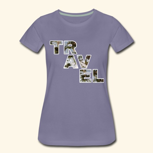 Travel travel with palm filling and blue sky - Women's Premium T-Shirt