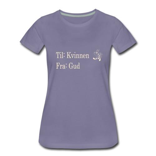 Til kvinnen fra gud, gull no border, sort hettegen - Premium T-skjorte for kvinner