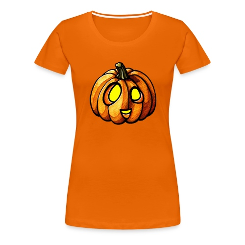 Pumpkin Halloween watercolor scribblesirii - Naisten premium t-paita