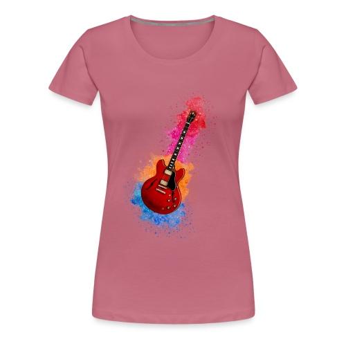 Cool Watercolour Splash Rock Guitar - Women's Premium T-Shirt