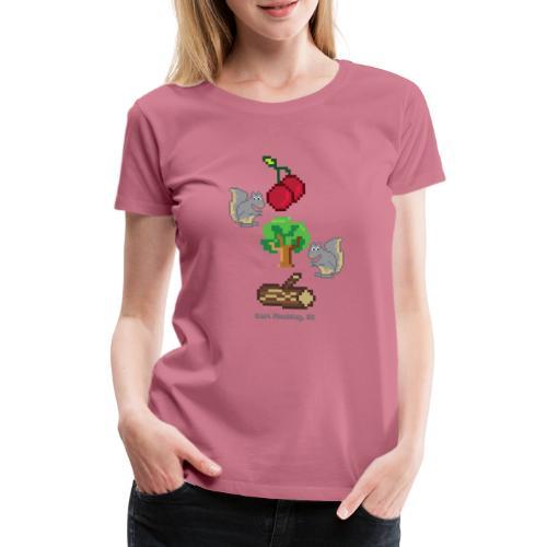 8 Bit Style Cherry Tree Wood Graphic - Women's Premium T-Shirt