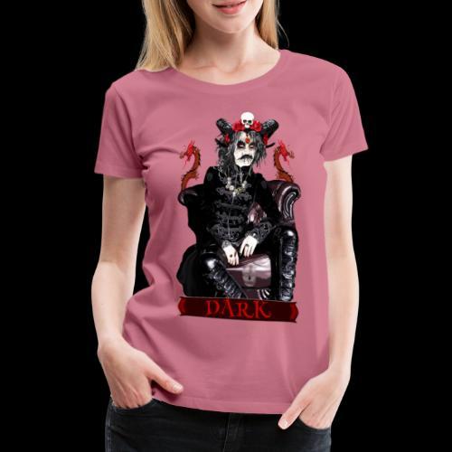 Créature gothique assise avec crânes et dragons - T-shirt Premium Femme