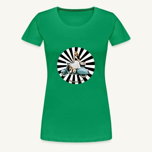 Pin Up auf Vespa Stripes - Frauen Premium T-Shirt
