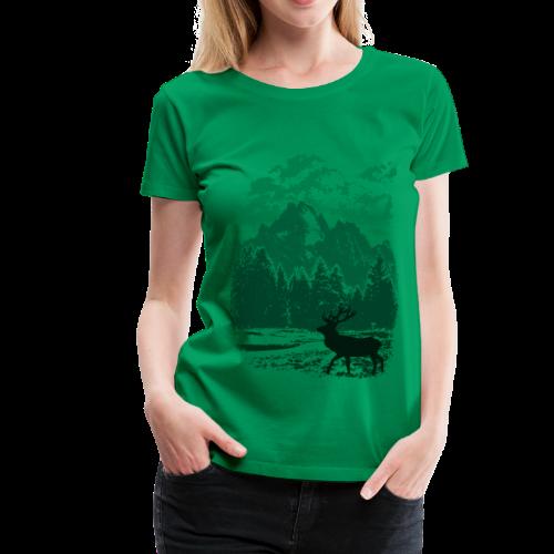 Bergwald und Rothirsch (Grün) - Frauen Premium T-Shirt