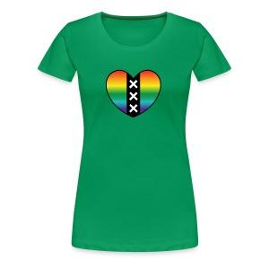 Hart Amsterdam in regenboog kleuren - Vrouwen Premium T-shirt
