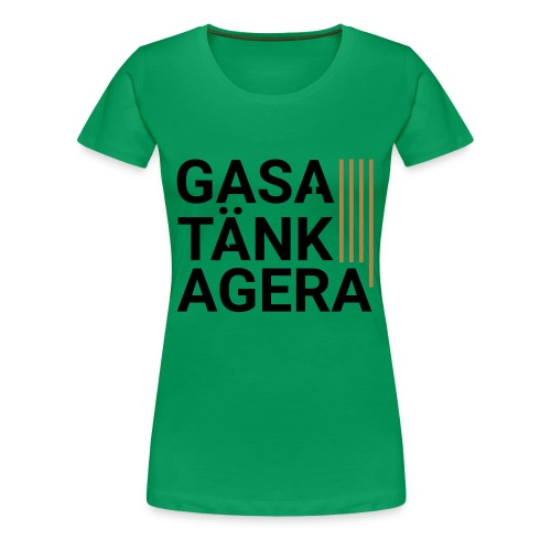 T-shirt för inspiration. Gasa-Tänk-Agera - Premium-T-shirt dam
