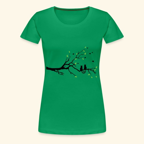 Zwei Katzen turteln auf dem Baum - Frauen Premium T-Shirt