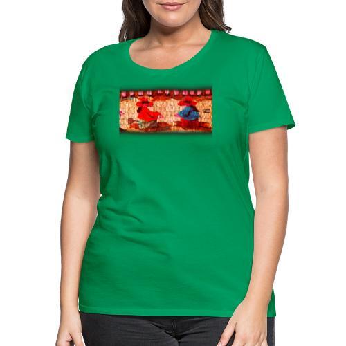 Dos Paisanitas tejiendo telar inca - Camiseta premium mujer